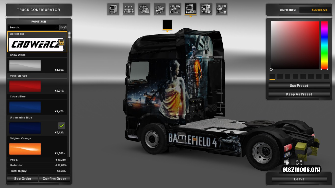 Battlefiel 4 Girl Skin for DAF Euro 6