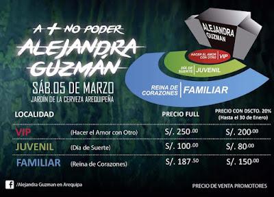 Alejandra guzman en Arequipa, precio de entradas