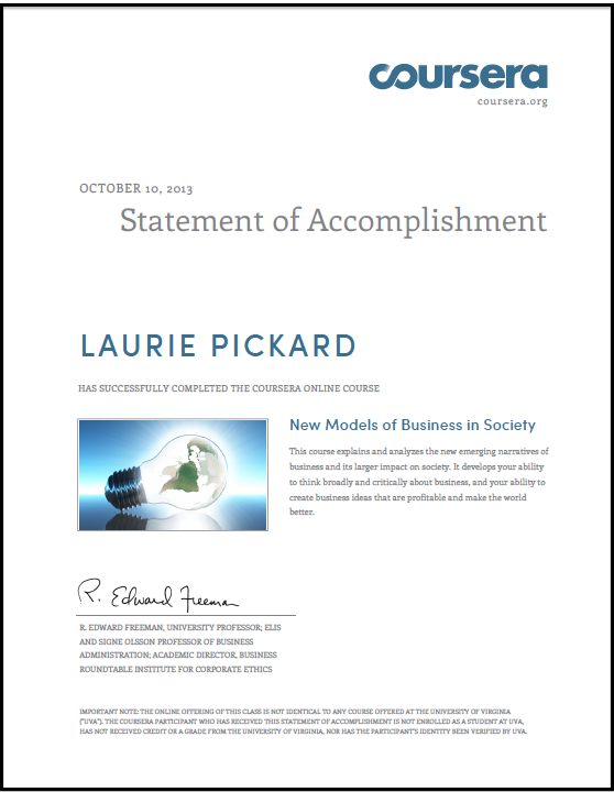 What is the value of a Coursera Statement of Accomplishment?