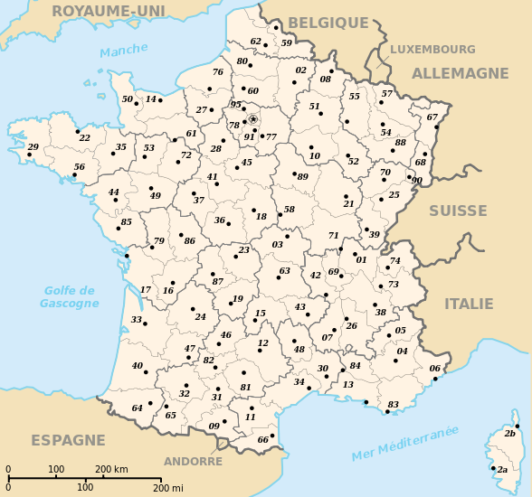 kaart frankrijk streken Kaart Frankrijk Departementen Regio's: Kaart departementen