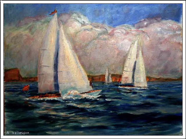 Pintura al oleo de dos tres veleros ciñendo