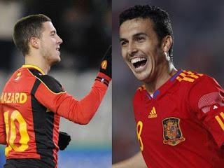 Bélgica vs España en partido amistoso internacional