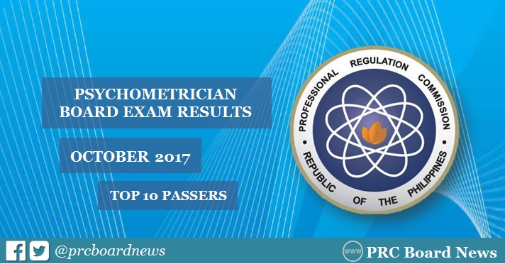 PRC RESULTS: October 2017 Psychometrician board exam top 10