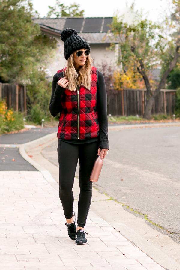 athleisure leggings vest hat and sneakers