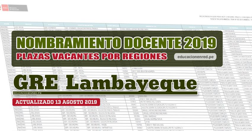GRE Lambayeque: Plazas Vacantes para Nombramiento Docente 2019 (.PDF ACTUALIZADO MARTES 13 AGOSTO) www.educacion.regionlambayeque.gob.pe