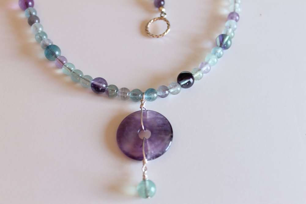 Moons Jewelry Rainbow Fluorite Necklace Fluorite
