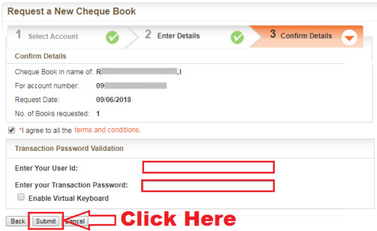 how to issue cheque book from bank of baroda