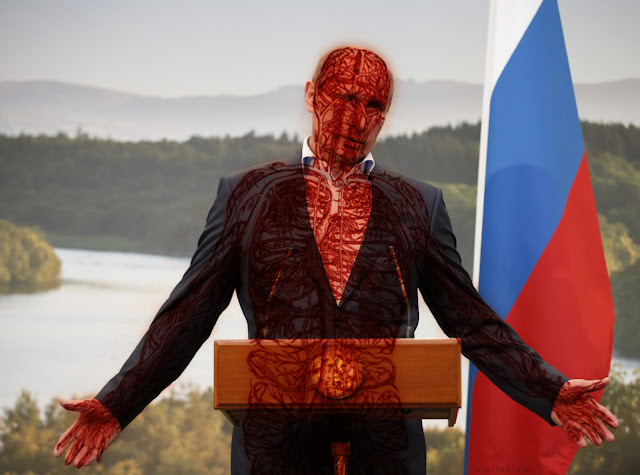 Владимир Путин (Vladimir Putin) with illustration of circulatory system superimposed over him in glowing red, making him look like a character from Hellraiser