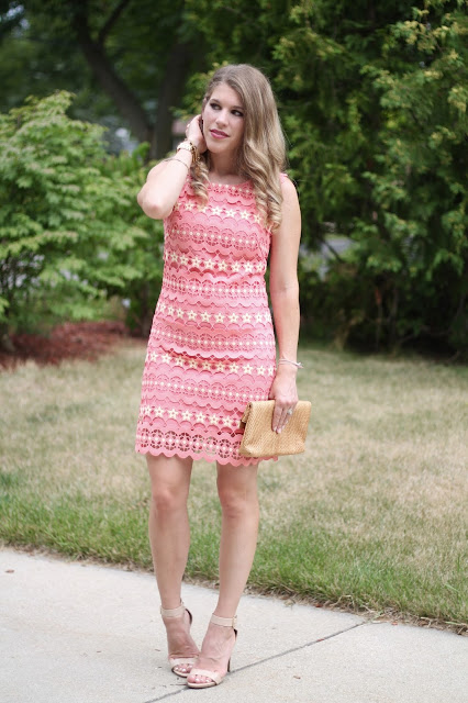 Dezzal review, summer wedding guest dress, coral lace dress, palm print shorts with black top, summer fashion