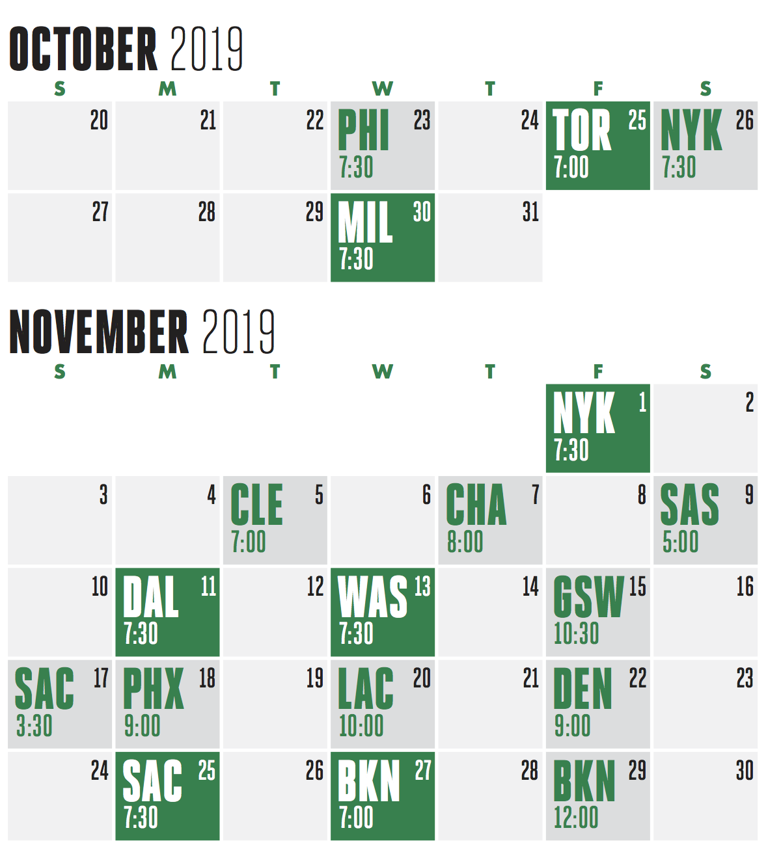 Celtics Schedule 2020.Celtics Life The Full Boston Celtics 2019 20 Season