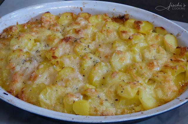 fischiscooking, erdäpfel - gemüse auflauf, mit käse überbacken