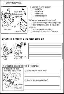 Avaliação de português para 3º ano