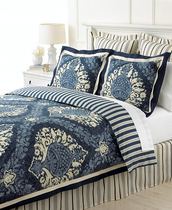 Blue And White Bedroom Has Its Focal Point, Navy Blue Damask Bedding