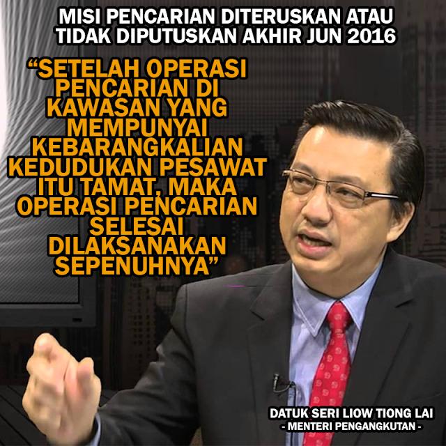 Misi Pencarian #MH370 Diteruskan Atau Dihentikan Selepas Mesyuarat Bersama - Datuk Seri Liow Tiong Lai