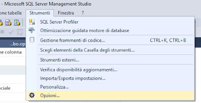 SQL Server: il salvataggio delle modifiche non è consentito