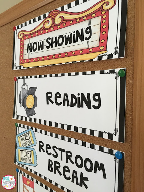 You can also use the same Hollywood classroom decoration idea to make cards for your class schedule