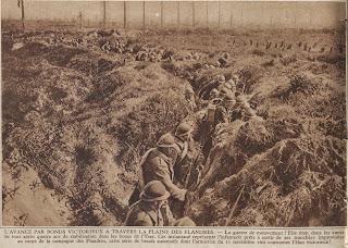 Soldaten in de loopgraven in de nabijheid van de Yzer