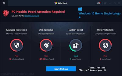 برنامج win tonic لتحسين أداء الكمبيوتر أخرأصدار 2018