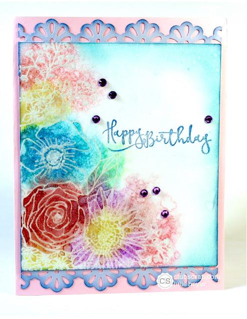 #clubscrap #distressoxides #embossresist #card #flowers