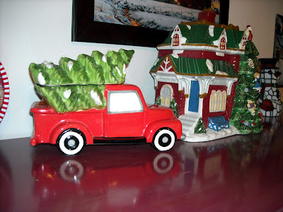 Old Red Truck With Christmas Tree In Back.J Thaddeus Ozark S Cookie Jars And Other Larks Red Truck