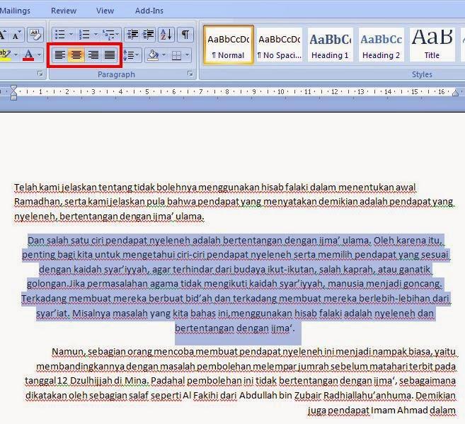 Cara Mengatur Perataan Teks Pada Ms.Office Word