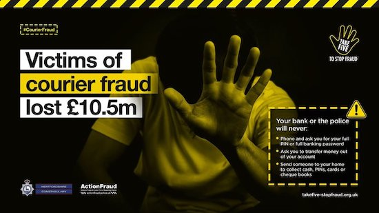Hertfordshire Constabulary courier fraud poster