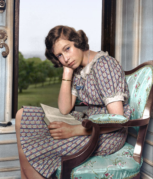 Princess Elizabeth (Queen Elizabeth II) reading at Windsor Castle. aged 14, year 1940, nearly a year into the WWII.