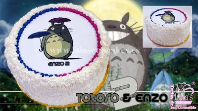 tarta personalizada fondant impresión comestible sabores colores niño niña totoro Laia's Cupcakes Puerto Sagunto