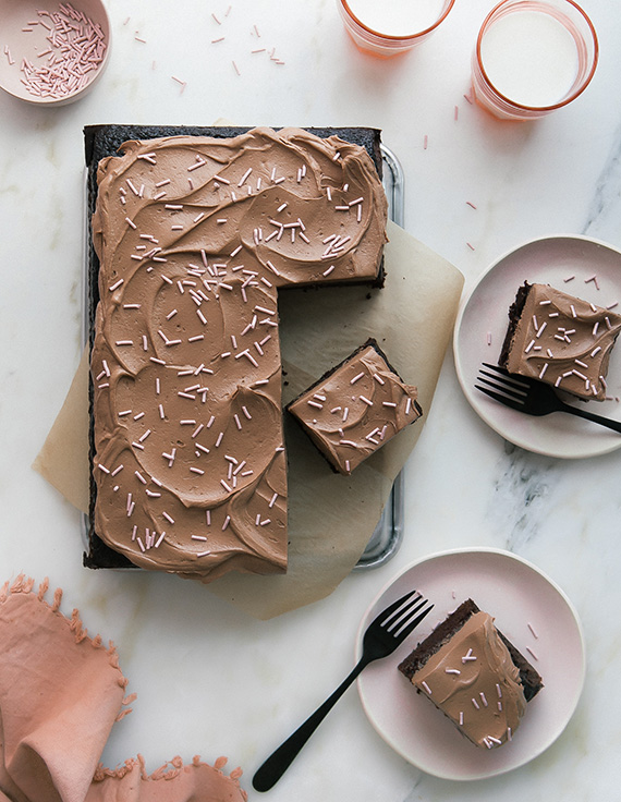 One-Bowl Sheet Chocolate Sheet Cake with Fudge-y Simple Frosting recipe via A Cozy Kitchen