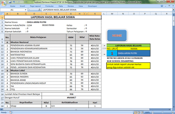 Aplikasi Penilaian Raport KTSP SD Berbasis Dapodikdas Lengkap dengan Rekap Format Microsoft Excel