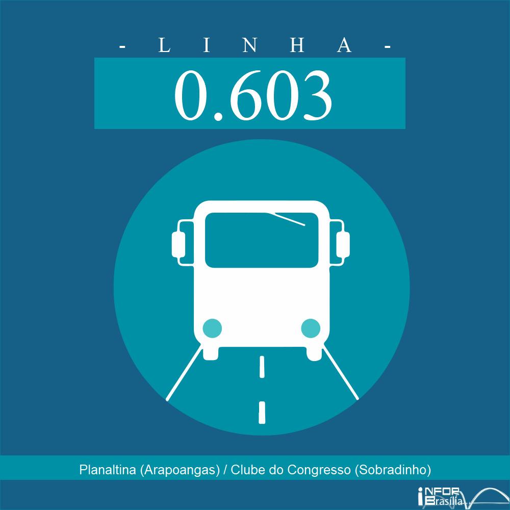 Horário de ônibus e itinerário 0.603 - Planaltina (Arapoangas) / Clube do Congresso (Sobradinho)