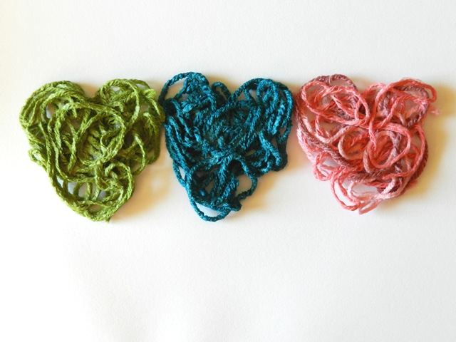 Valentine's Craft: Starched Yarn Hearts