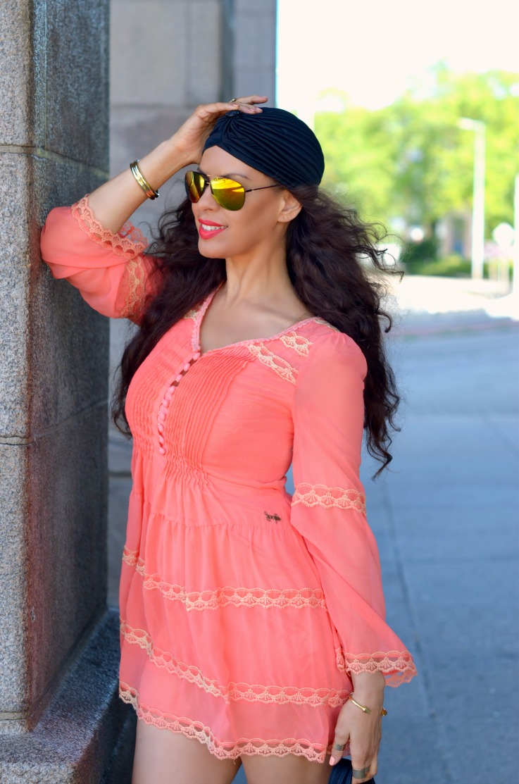 H&M gladiator sandals,Jacky Luxury dress,Yellow mirrored sunglasses,trendy,summer outfit,coral dress