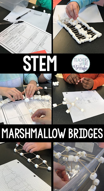 It's a STEM Challenge about Building a Bridge (with marshmallows) and it has been a kid-favorite for several years. Kids love the simple materials and the task of making this one work. The bridges are not very long but will test the patience and diligence of students as they work to finish this successfully. And, they will! Great cheering will happen when a bridge spans the gap and holds a little bit of weight! A few simple materials and they are off! The resource includes editable forms!