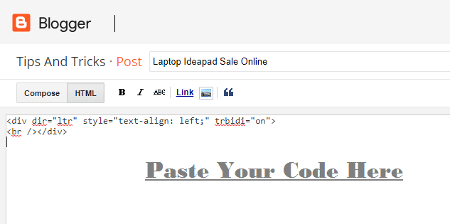 embed payment gateway code in blogger html mode