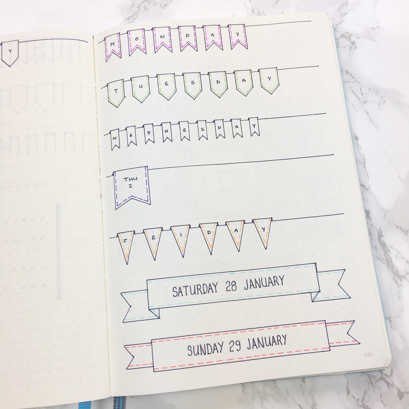 Bullet Journal Monthly Banner Headers & Template
