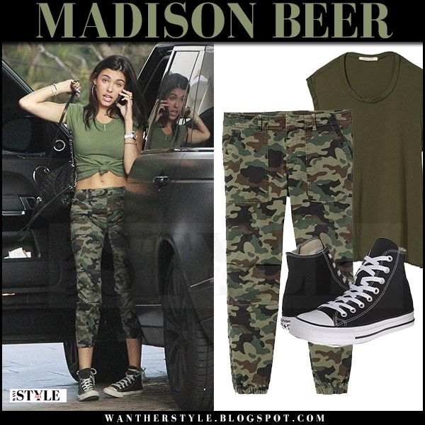 Madison Beer in green tee and camo print pants nili lotan what she wore july 22 2017