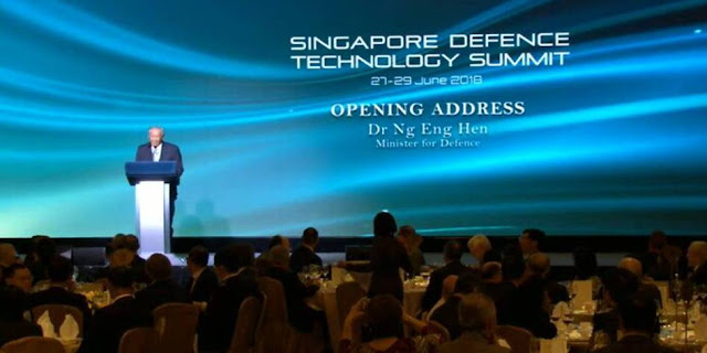 Image Attribute: Welcome address by Minister of Defence, Dr. Ng Eng Hen, at the opening ceremony of the inaugural Singapore Defence Technology Summit 2018, on June 27,  1900Hrs, at Shangri-La Hotel. / Source: Media Screengrab by MediaCorp