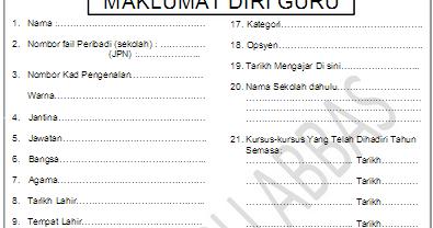 Contoh Borang Maklumat Guru Fail Rph Rpt Pk Tahun 1 Rpt Bm Tahun
