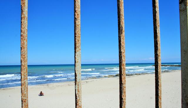 mare, spiaggia, ringhiera, sabbia, cielo