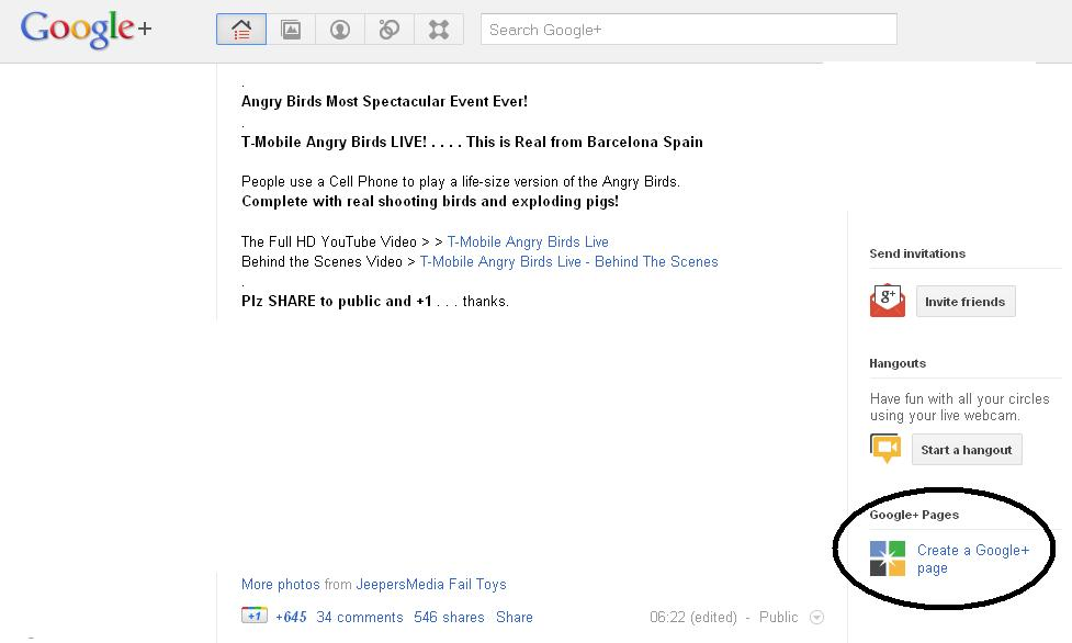 How to create page on Google plus