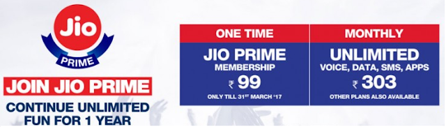 Jio Prime Unlimited Talktime and Internet