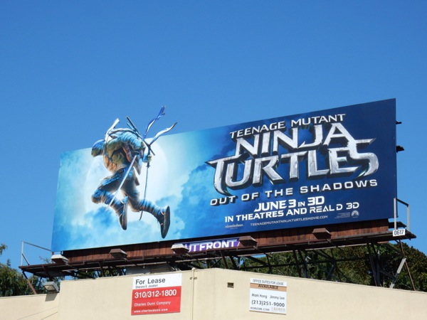Ninja Turtles Out of the Shadows Leonardo cut-out billboard