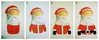paso a paso añadimos barba y detalles del traje de papa noel para la tarjeta navideña en goma eva