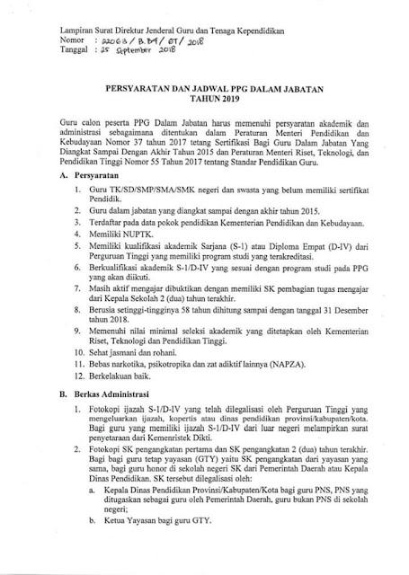 Persyaratan dan Jadwal Pelaksanan PPG Dalam Jabatan Tahun 2019