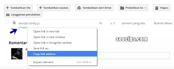 Lokasi file Google Site