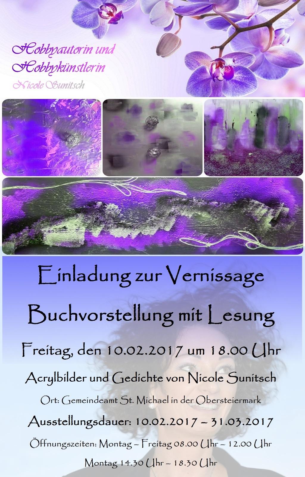 nicole sunitsch - autorin - hobbyautorin - hobbykünstlerin, Einladung