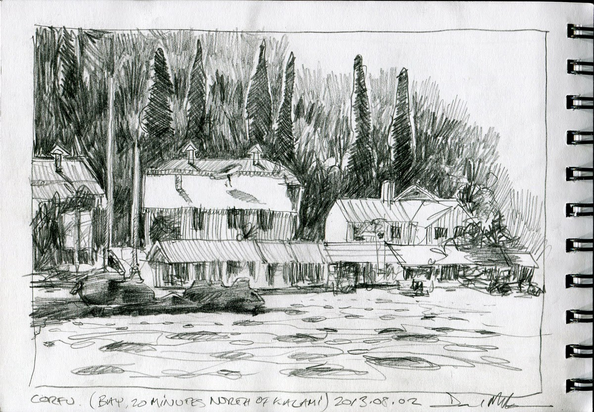 Corfu pencil sketch by David Meldrum
