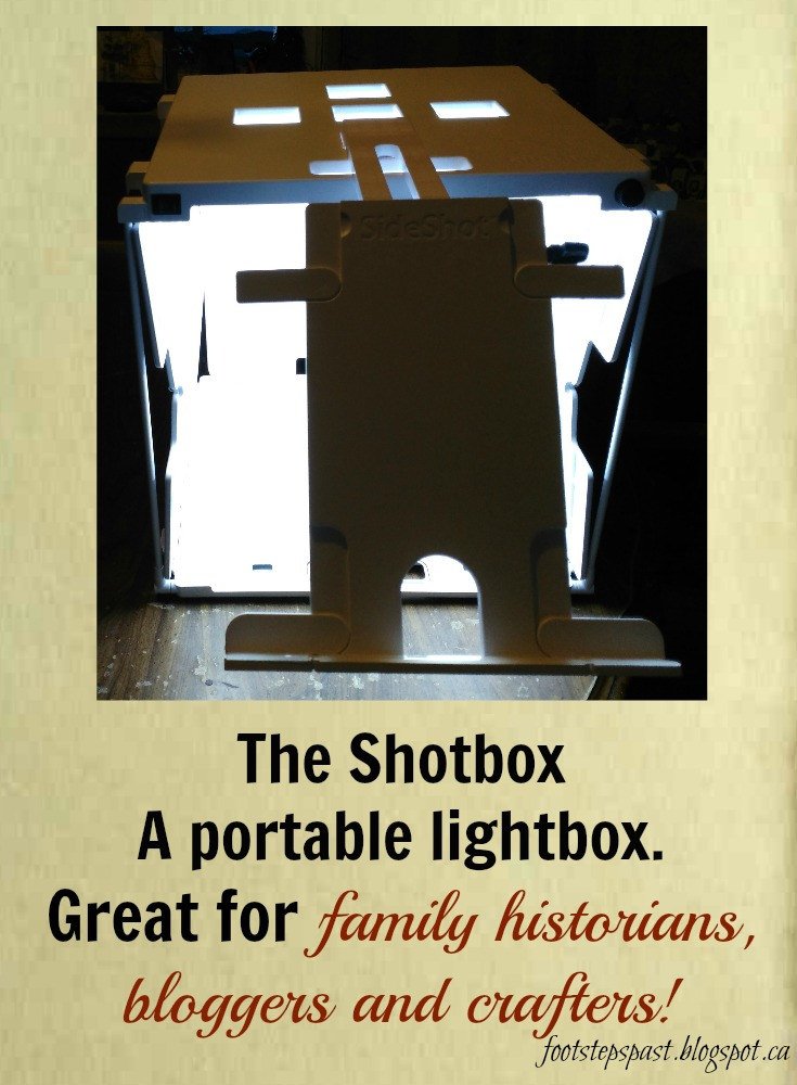 The Shotbox is a portable lightbox that gives you perfect lighting conditions  for your photography.  Easily collapses to take with you and for storage.  A great addition to my genealogy tools! | http://footstepspast.blogspot.ca/