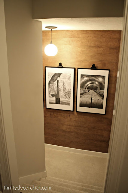 DIY wood stained wall with large frames